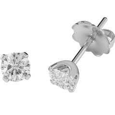 Diamond Stud Earrings in 18ct White Gold with Round Brilliant Cut Diamonds