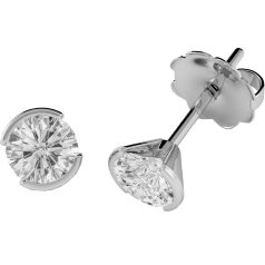 Diamond Stud Earrings in 18ct White Gold with Round Brilliant Cut Diamonds in a Semi Rub-Over Setting