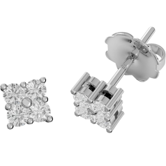 Diamond Stud Earrings in 9ct White Gold with 4 Round Brilliant Cut Diamonds in a Claw Setting