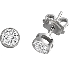 Diamond Stud Earrings in 18ct White Gold with Round Brilliant Cut Diamonds in a Rub-Over Setting