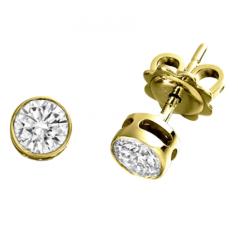 Cercei Tip Stud Aur Galben 18kt cu Diamant Rotund Briliant in Setare Rub-Over