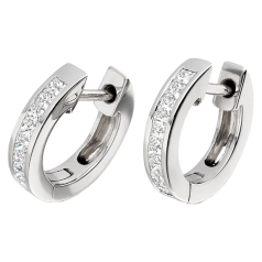 Diamond Hoop Earrings in 18ct White Gold with Princess Cut Diamonds