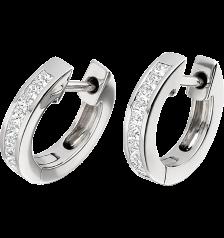 RDE021W1 - 18kt Weissgold Band-Ohrringe mit Princess Schliff Diamanten