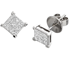 RDE022W1 - 18ct white gold earrings with princess cut diamonds