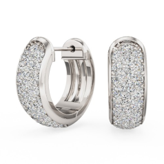 Diamond Hoop Earrings in 18ct White Gold with Round Brilliant Cut Diamonds in a Pave Setting