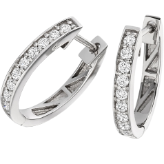 Diamond Hoop Earrings in 18ct White Gold with 9 Round Brilliant Cut Diamonds in a Claw Setting