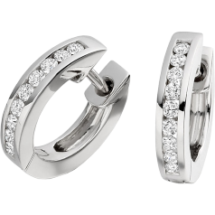 Diamond Hoop Earrings in 18ct White Gold with 9 Round Brilliant Cut Diamonds in a Channel Setting