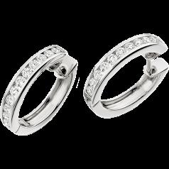 RDE028W - 18kt Cercei creole din aur alb cu 11 diamante rotund brilliant în fiecare, setate în canal