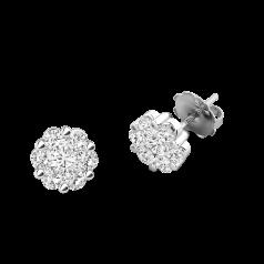Cercei Stud din Aur Alb 18kt cu Diamante Rotunde Briliant