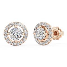 Cercei Tip Stud Aur Roz 18kt cu Diamante Rotunde Briliant, Stil Halo