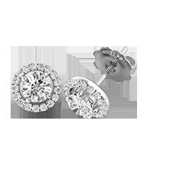 Cercei Tip Stud Aur Alb 18kt cu Diamante Rotunde Briliant, Stil Halo