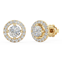 Cercei Tip Stud Aur Galben 18kt cu Diamante Rotunde Briliant, Stil Halo