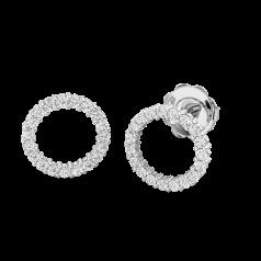 Cercei Aur Alb 18kt cu Diamante Rotund Briliant, Stil Halo