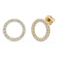 Cercei Aur Galben 18kt cu Diamante Rotund Briliant, Stil Halo