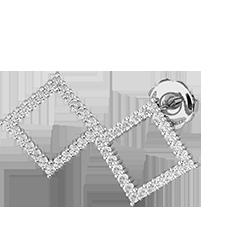 Cercei Stud Aur Alb 18kt cu Diamante Rotunde Setate in Forma Patrata