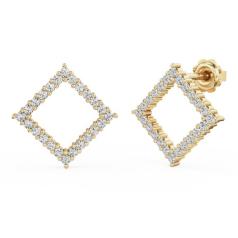 Cercei Stud Aur Galben 18kt cu Diamante Rotunde Setate in Forma Patrata