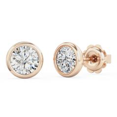 Cercei Stud Aur Roz 18kt cu Diamante Rotunde Brilliant
