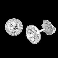 RDE038W-Cercei Aur Alb 18kt Tip Halo cu Diamante Rotunde si Inconjurat de un Halo de 14 diamante