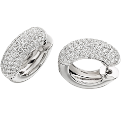 Diamond Earrings in 18ct White Gold with Round Brilliant Cut Diamonds in a Pave Setting