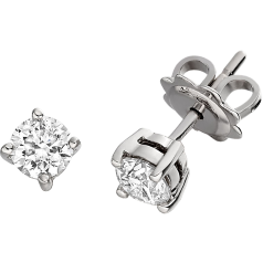 Diamond Stud Earrings in 9ct White Gold with Round Brilliant Diamonds in a 4-Claw Setting