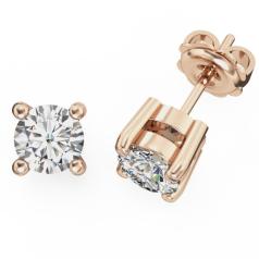 Cercei Stud Aur Roz 18kt cu Diamante Rotund Briliant Setate cu 4 Gheare