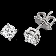 Cercei Stud Aur Alb 18kt cu Diamante Rotund Briliant Setate cu 4 Gheare. In Stoc.