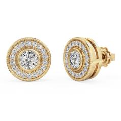 Cercei Aur Galben 18kt cu Diamante Rotund Briliant in Setare Rub-Over & Gheare
