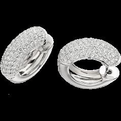 RDE055W - 18kt Weissgold Band-Ohrringe mit runden Brillanten