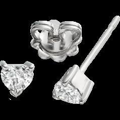 Cercei Tip Stud Aur Alb 18kt cu Diamant Forma Inima Setat in 3 Gheare