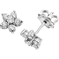 RDE058/9W - A pair of 9ct white gold diamond cluster earrings