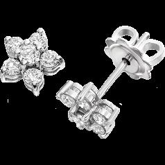 Cercei Tip Stud Aur Alb 9kt cu Diamante Rotund Briliant in Forma de Floare