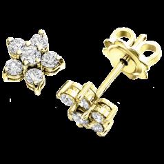 Cercei Tip Stud Aur Galben 18kt cu Diamante Rotund Briliant in Forma de Floare