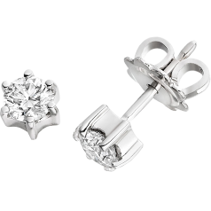 RDE059/9W - A pair of 9ct white gold 6 claw diamond studs