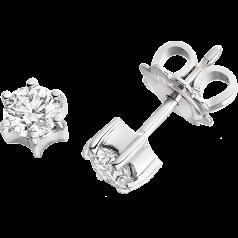 RDE059/9W - 9kt Cercei din aur alb cu diamant rotund brilliant setat în 6 gheare