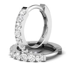 Cercei Creole Aur Alb 18kt cu 9 Diamante Rotunde Briliant in Setare Clasica cu Gheare