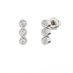 Cercei Lungi Aur Alb 18kt cu 3 Diamante Rotunde Brilliant în Setare Rub Over