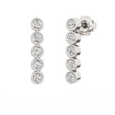 Cercei Lungi Aur Alb 18kt cu 5 Diamante Rotunde Brilliant în Setare Rub Over