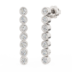 Cercei Lungi Aur Alb 18kt cu 7 Diamante Rotunde Brilliant în Setare Rub Over