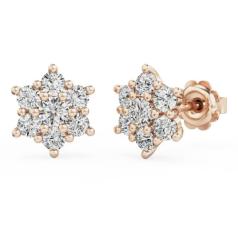 Cercei Stud din Aur Roz 18kt cu 7 Diamante Rotunde Briliant în Setare Gheare