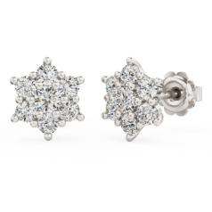 Cercei Stud din Aur Alb 18kt cu 7 Diamante Rotunde Briliant în Setare Gheare
