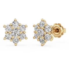 Cercei Stud din Aur Galben 18kt cu 7 Diamante Rotunde Briliant în Setare Gheare