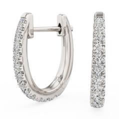 Cercei Creole Aur Alb 18kt cu 13 Diamante Rotunde Briliant in Setare Clasica cu Gheare