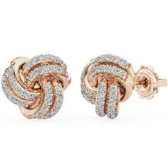 Cercei Tip Stud Aur Roz 18kt cu Diamant Rotund Briliant Setat cu Gheare, în Forma de Nod