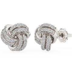 Cercei Tip Stud Aur Alb 18kt cu Diamant Rotund Briliant Setat cu Gheare, în Forma de Nod