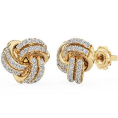 Cercei Tip Stud Aur Galben 18kt cu Diamant Rotund Briliant Setat cu Gheare, în Forma de Nod