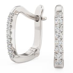 Cercei Creole Aur Alb 18kt cu 8 Diamante Rotunde Setate cu Gheare, Stil Huggie