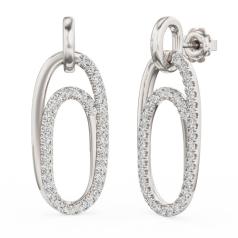 Cercei în Stil Picătură Aur Alb 18kt cu 13 Diamante Rotunde Briliant in Setare Clasica cu Gheare
