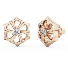 Cercei Tip Stud Aur Roz 18kt cu Diamant Rotund Briliant Setat cu 3 Gheare