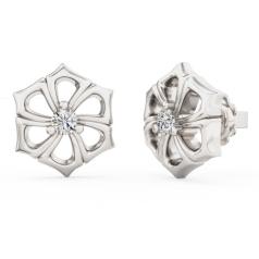 Cercei Tip Stud Aur Alb 18kt cu Diamant Rotund Briliant Setat cu 3 Gheare