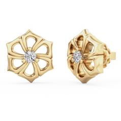 Cercei Tip Stud Aur Galben 18kt cu Diamant Rotund Briliant Setat cu 3 Gheare